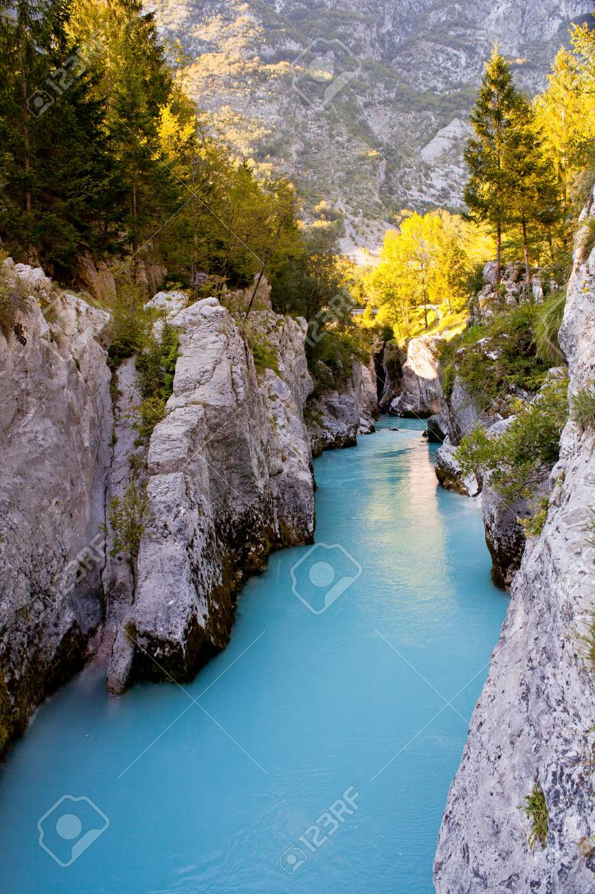 View of Slovenian Soca river in the summer Stock Photo - 13603010