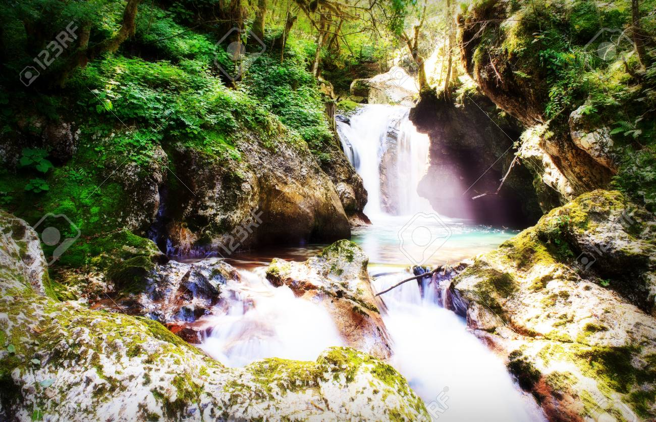 View of Waterfall in the Slovenian  Julian Alps Stock Photo - 13602934