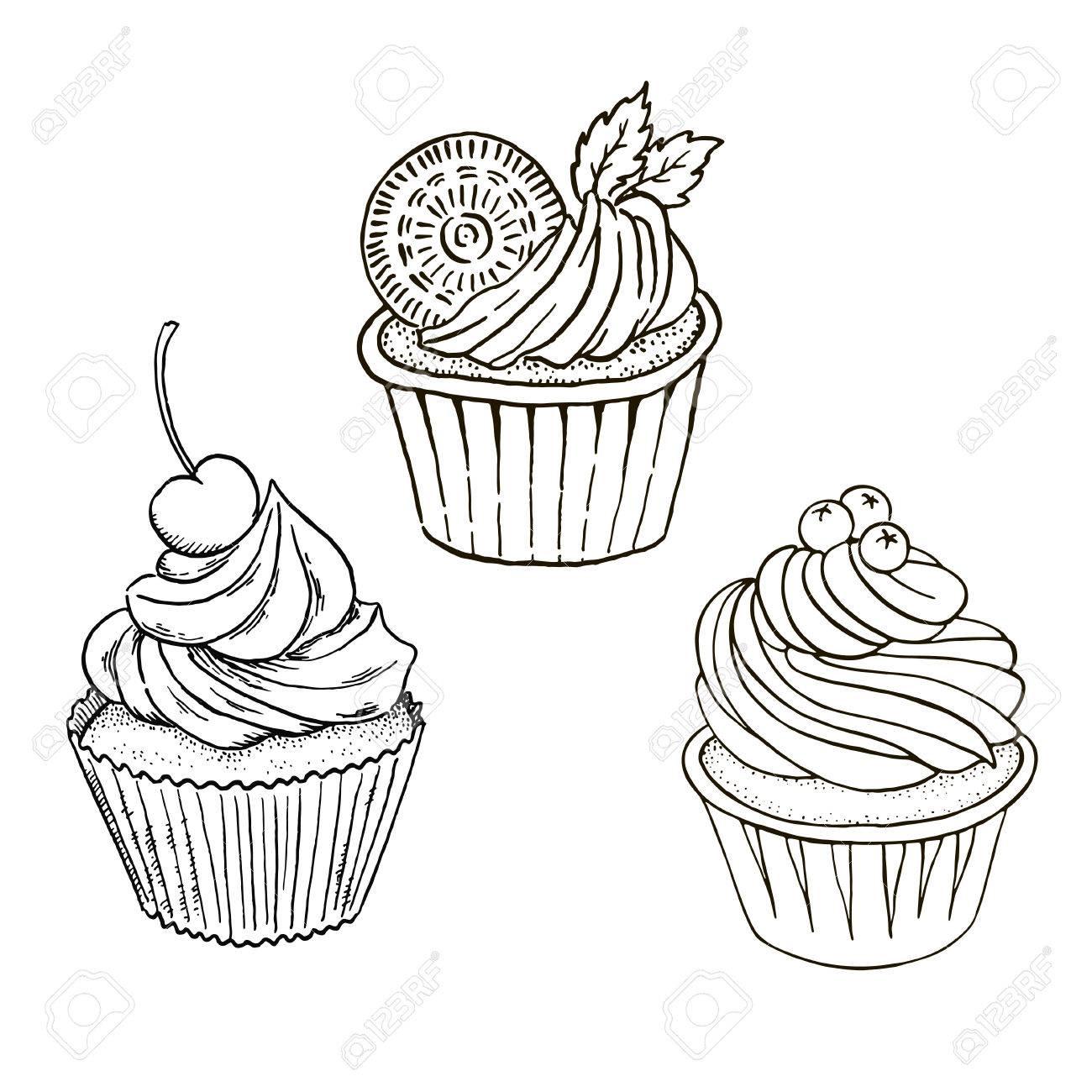 Dessiné De Main Noir Et Blanc Cupcakes De Contour Bon Pour La Coloration
