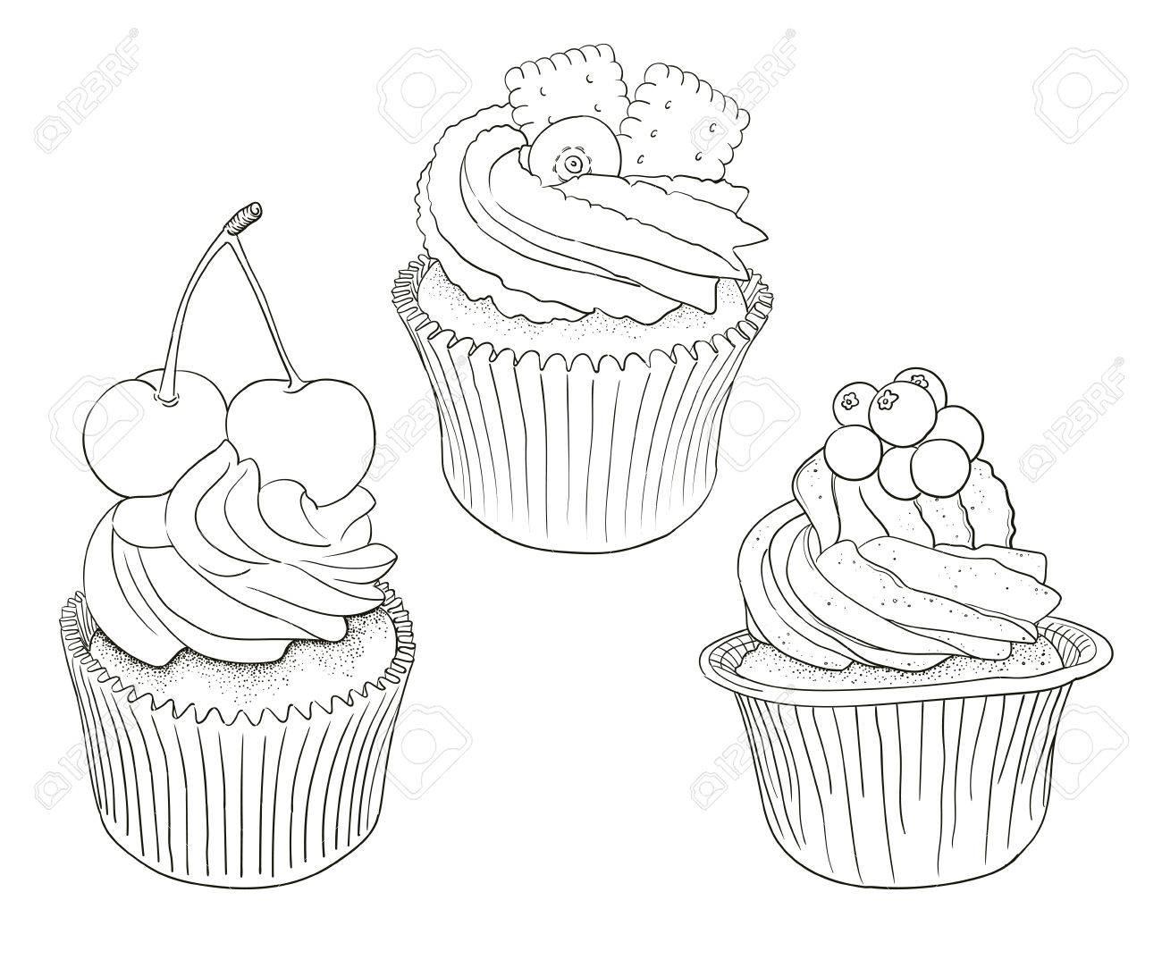 Hand Gezeichnet Vektor Schwarz Und Weiß Umriss Cupcakes, Gut Zum ...
