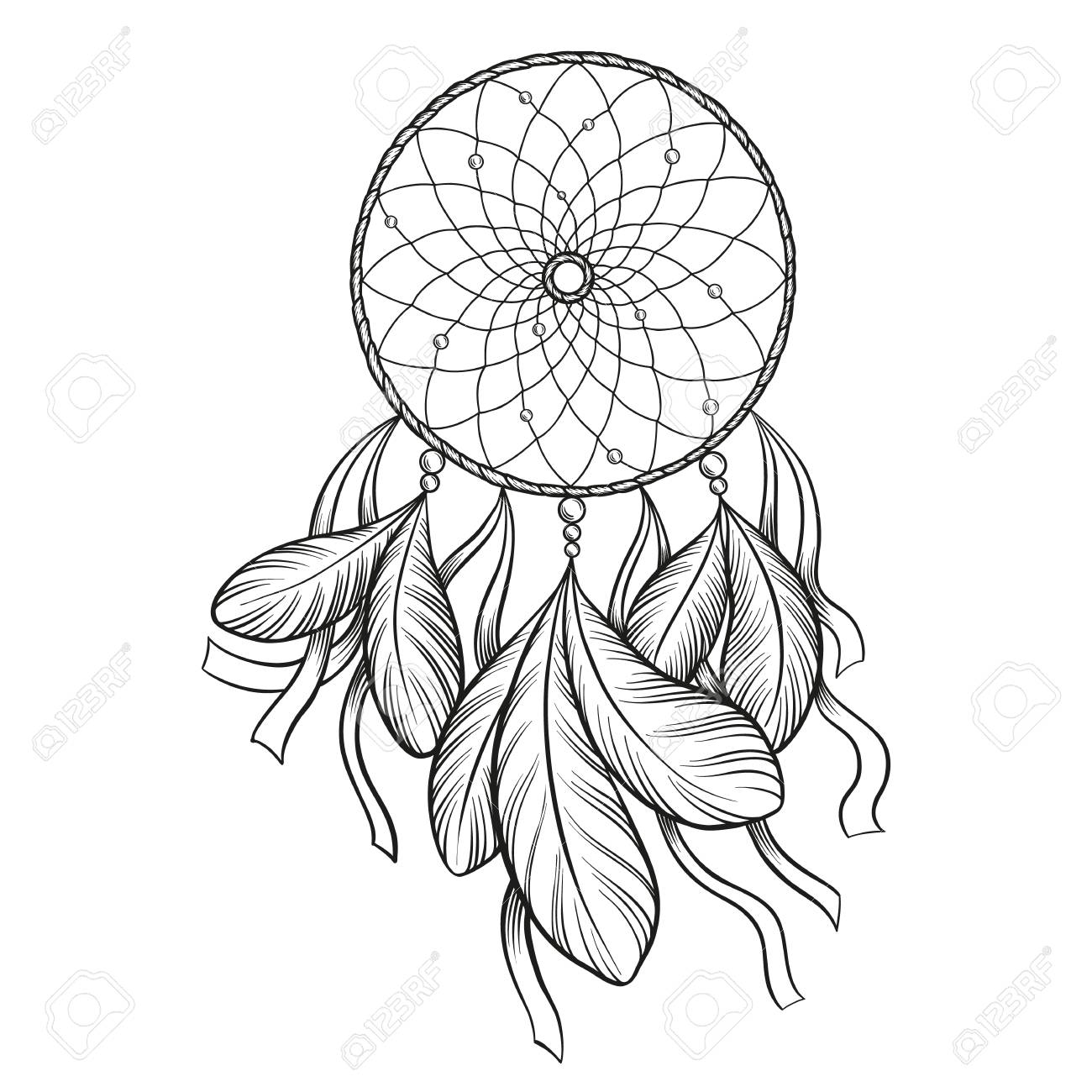 Black And White Drawing Dream Catcher Outline Wiring Diagrams November 2010 Electrocircuit Schema Datasheet Hand Drawn Vector Isolated On Rh 123rf Com