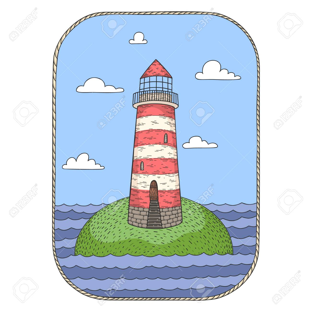 Hand Drawn Vector Cartoon Lighthouse On An Island Isolated On