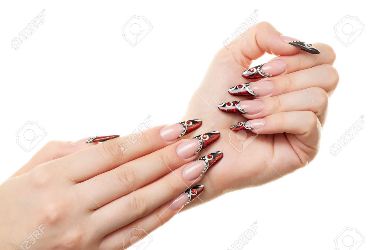 Rood En Zwart Nail Design Gesoleerd Op Wit Royalty Vrije Foto