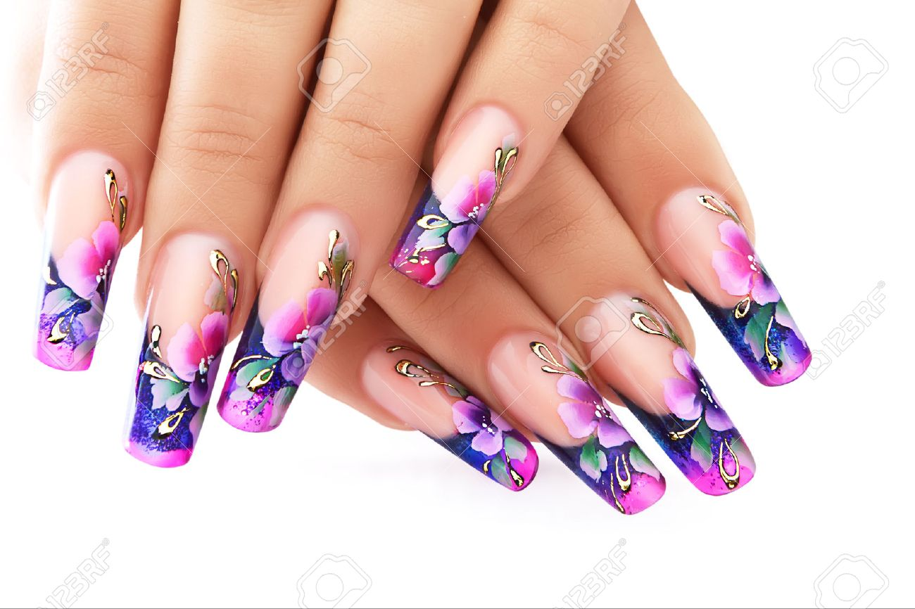 Female Hand With Floral Art Design Nails . Stock Photo, Picture And ...