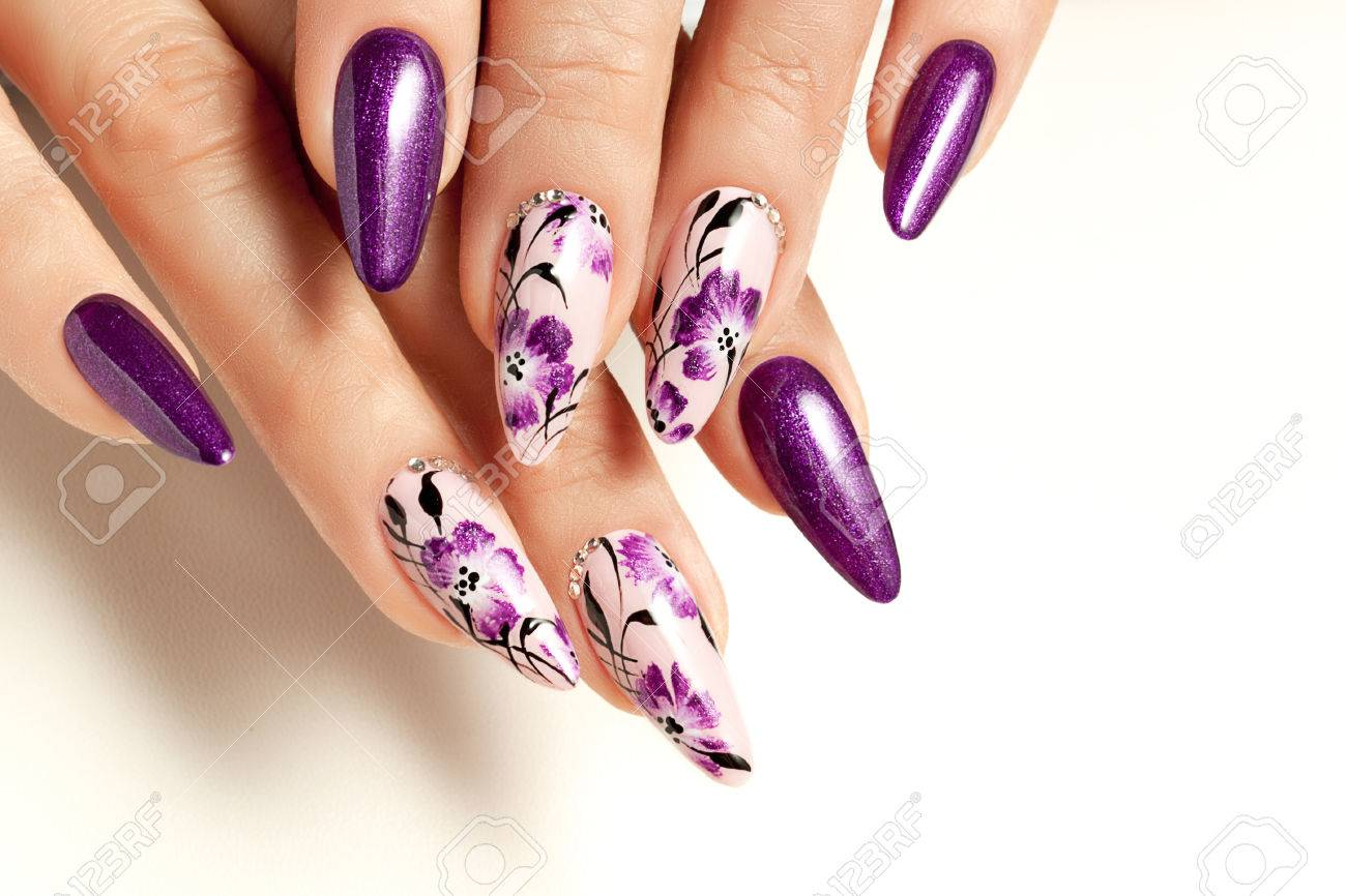 Nail Art Service. Female Manicure And Floral Patterns. Stock Photo ...