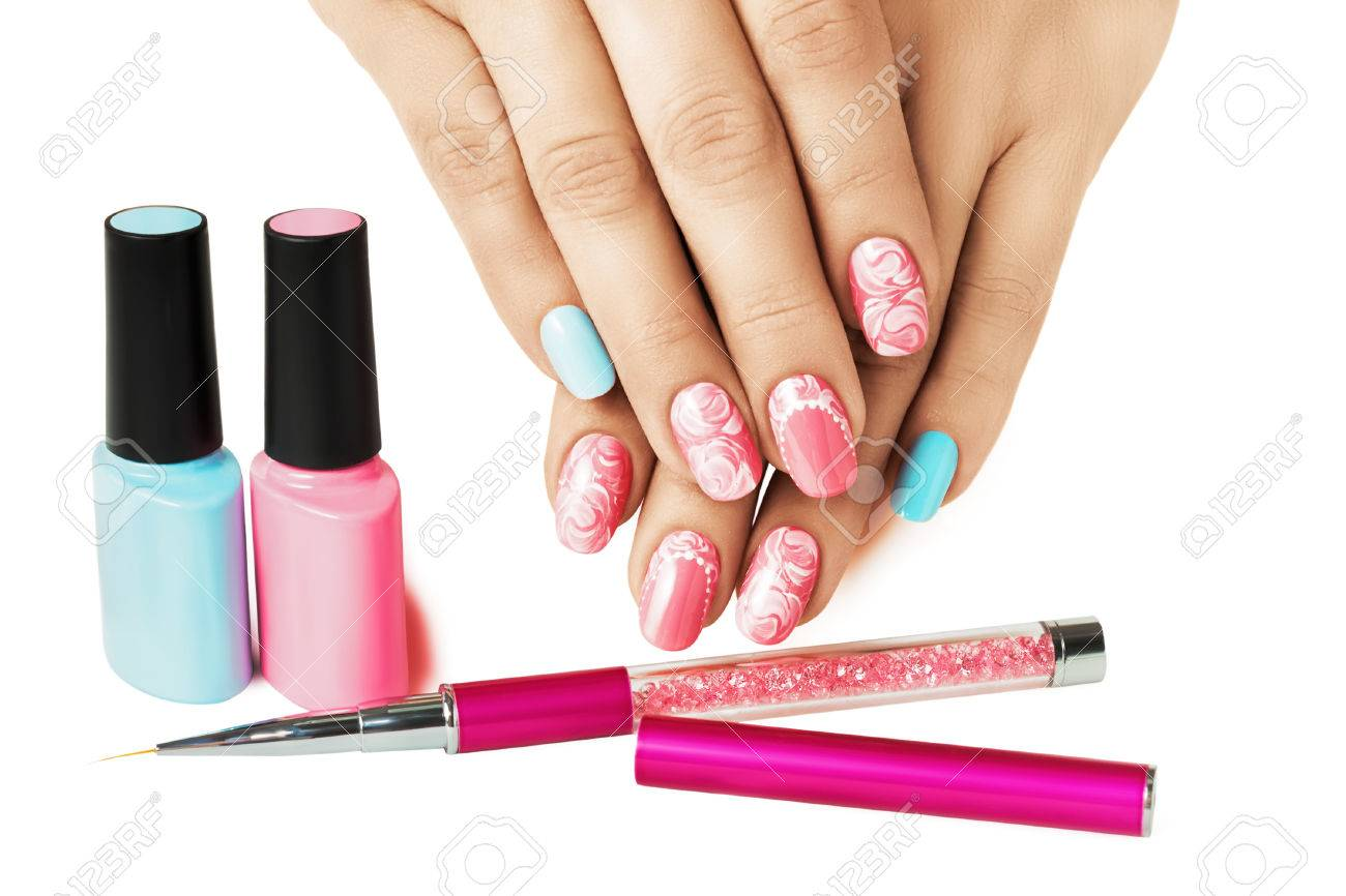 Blue And Pink Nails. Pastel Art Design. Female Manicure. Stock Photo ...