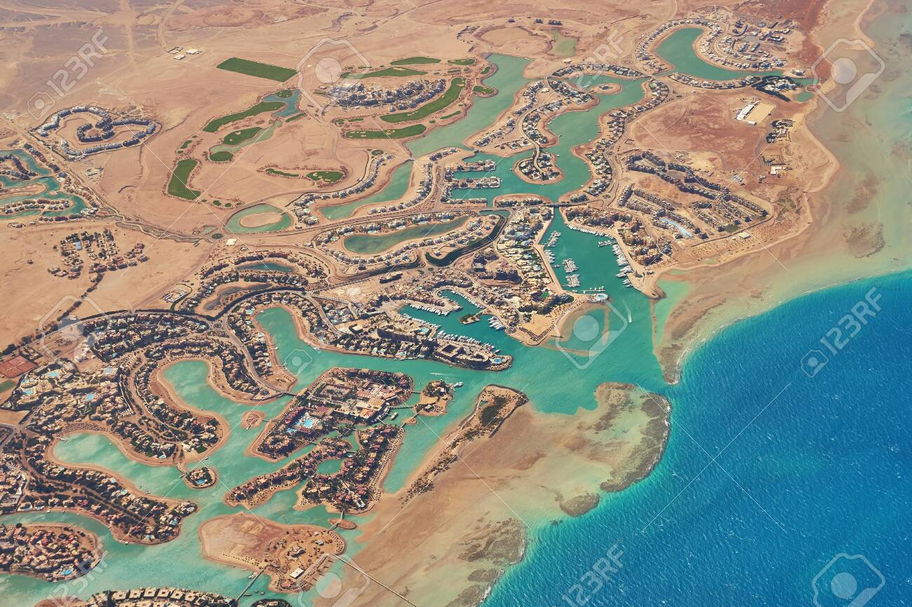 Aerial View Of El Gouna A Luxury Egyptian Tourist Resort Located Stock Photo Picture And Royalty Free Image Image 148142177