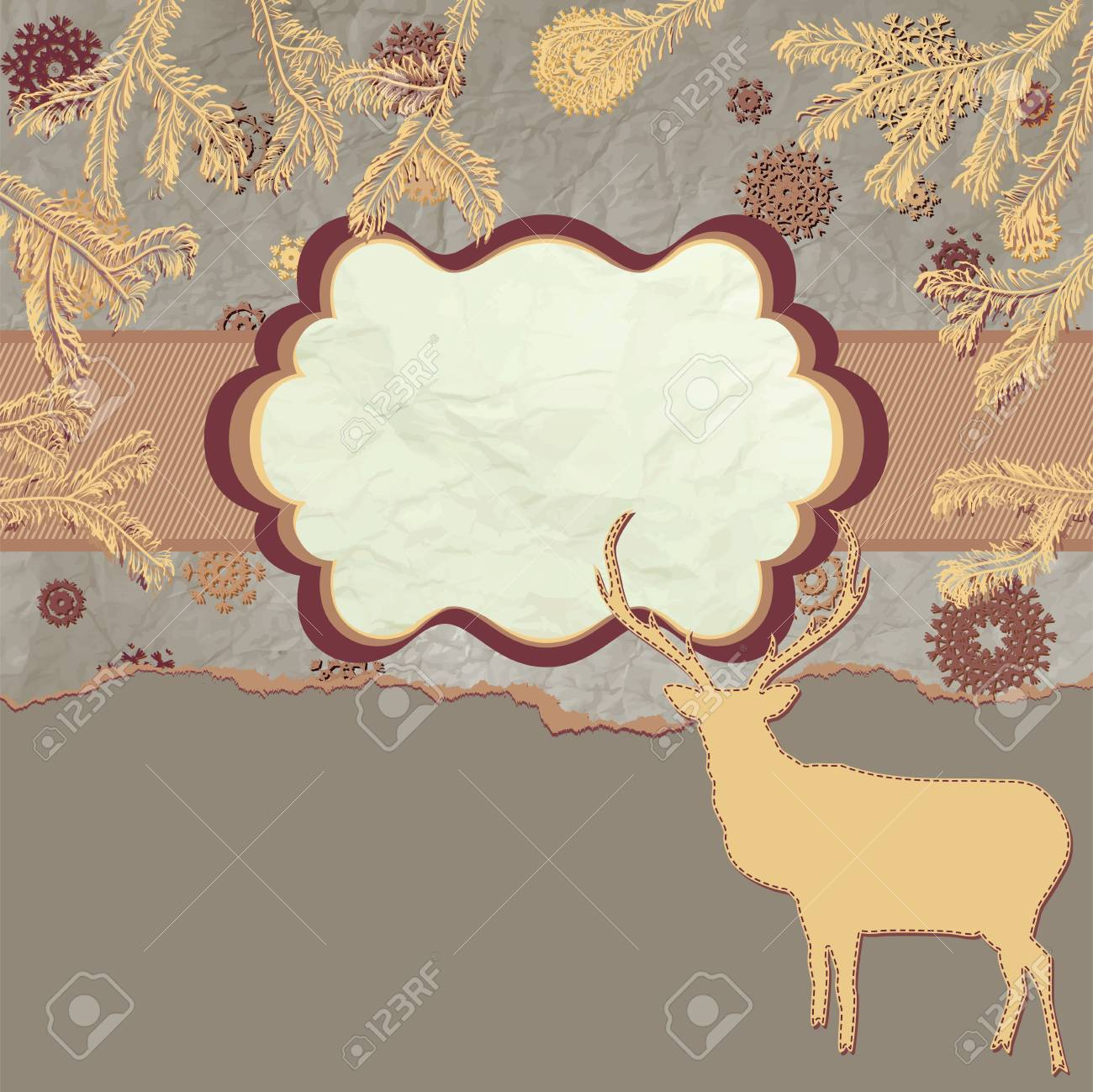 Card with deers in christmas time Stock Vector - 15774483