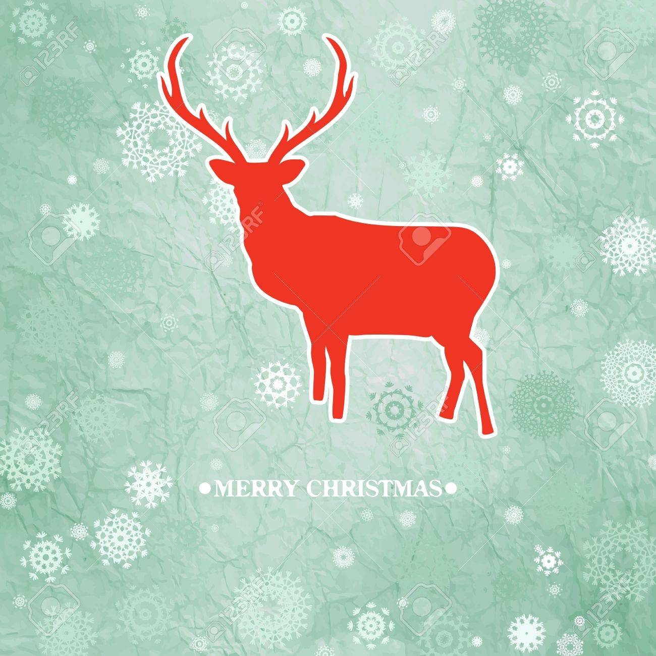Christmas deer template card Stock Vector - 15906375
