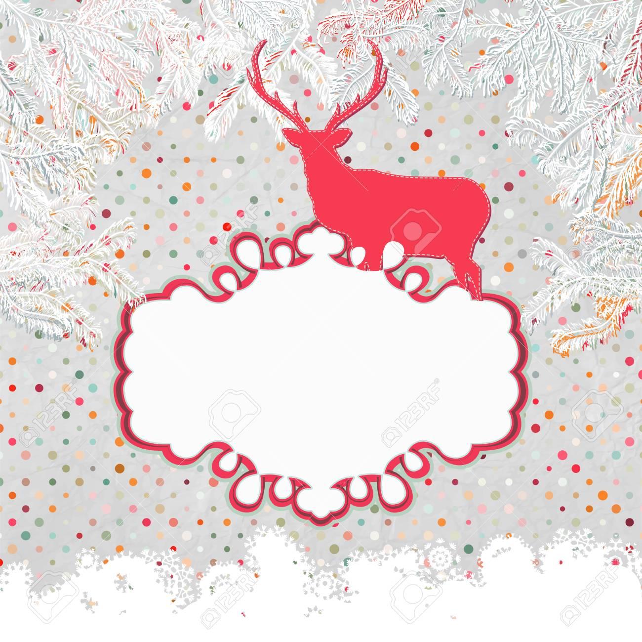 Christmas deer tempate card Stock Vector - 15966783
