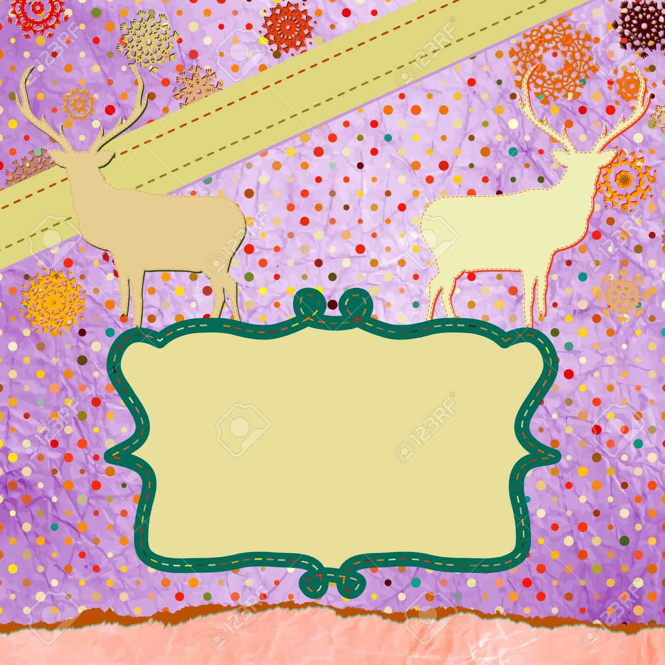Santa Claus Deer vintage Christmas card  EPS 8 Stock Vector - 16471485