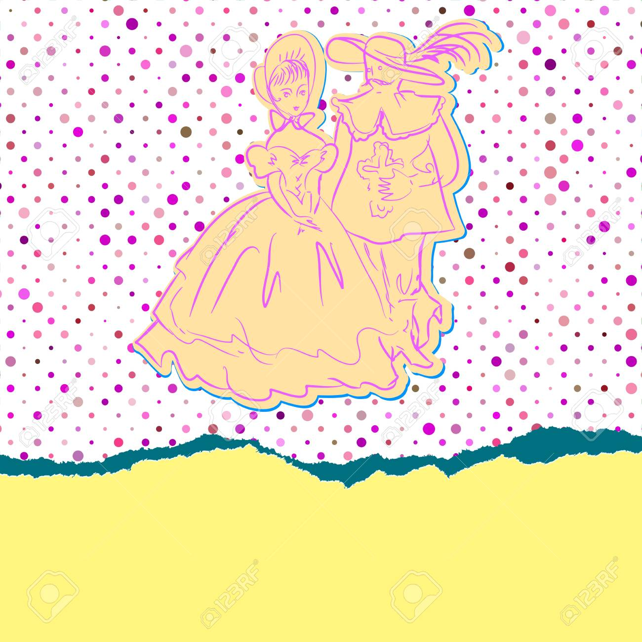 Romantic girl with man, card for events Stock Vector - 18513930