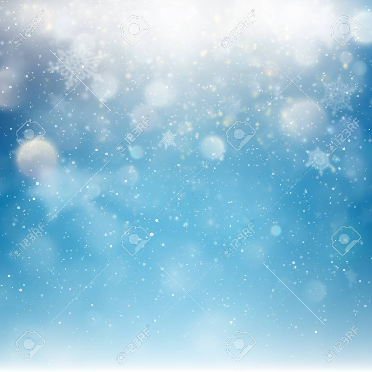 blue christmas falling snow template flying snowflakes background