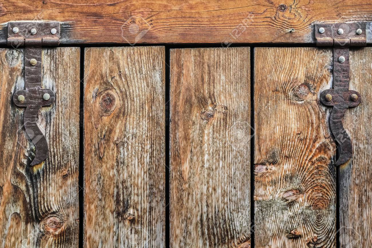 An Antique Rustic Pine Wood Door With Wrought Iron Hinges   Detail Stock  Photo   22236166