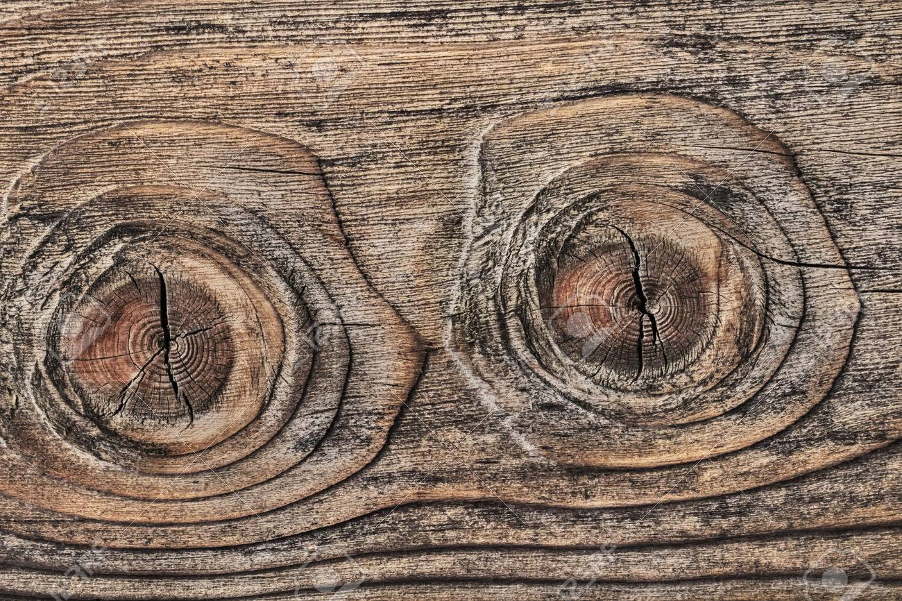 old plank with two big wood knots twins and cracked layered