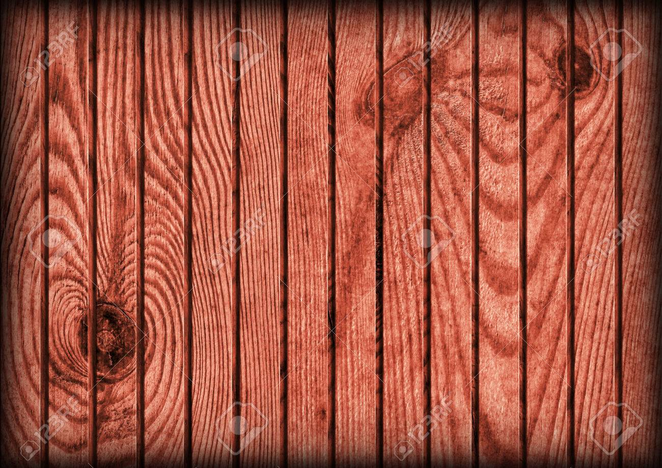 Old Weathered Cracked Knotted Maroon Red Pine Wood Flooring Rustic  Vignetted Grunge Texture Stock Photo