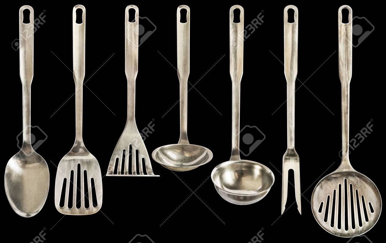 Old Patinated Seven Pieces Stainless Steel Kitchen Utensils Set..