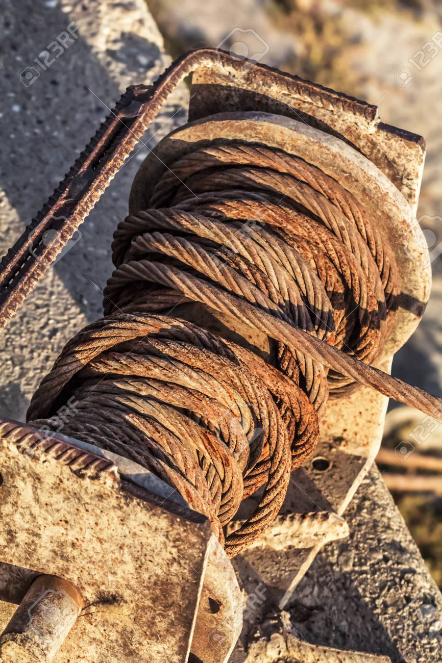 Old Corroded Winch With Rusty Steel Cable Tangled Coil Detail Stock ...