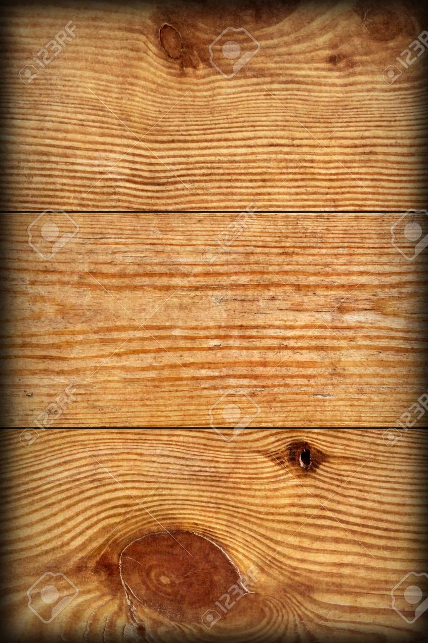 Old Weathered Rotten Cracked Knotted Varnished Pinewood Planks