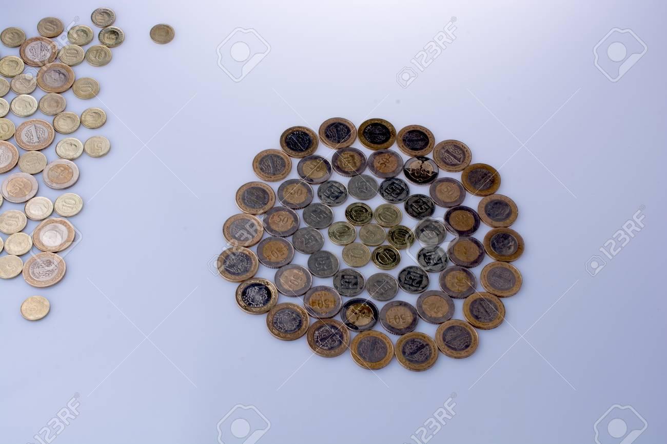 Türkische Lira Münzen Formen Zusammen Eine Runde Kreisform Auf