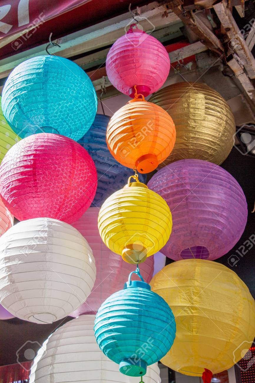 colorful paper lantern outdoor in the marketplace stock photo