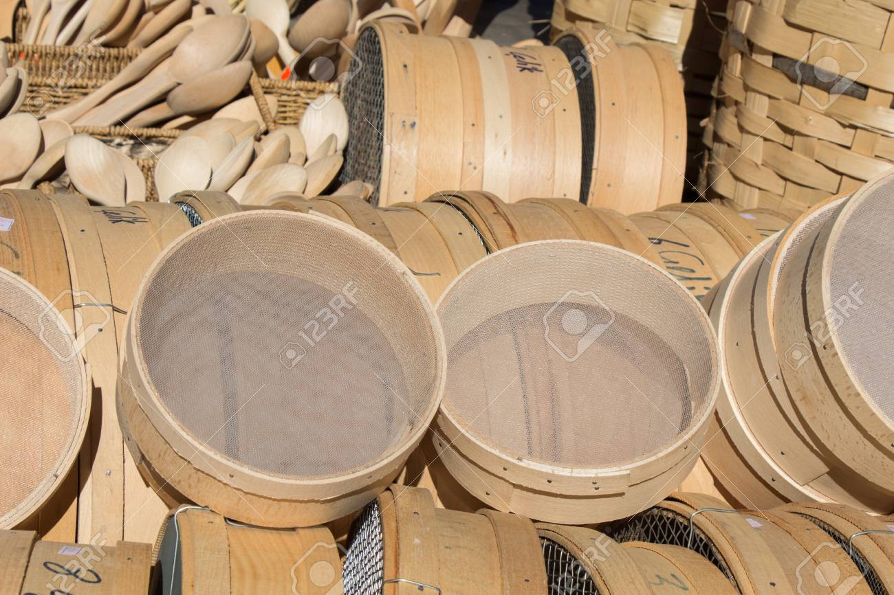 b1586506d032 Traditional Type Sieve Made Of Wood Stock Photo, Picture And Royalty ...