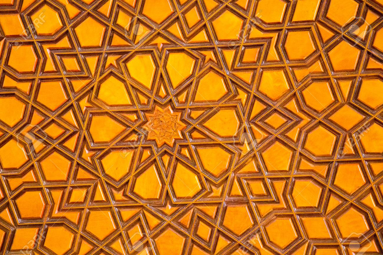 Osmanische Turkische Kunst Mit Geometrischen Mustern Auf Holz