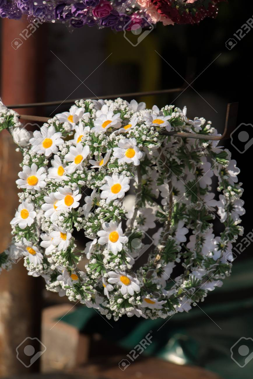 Colorful Crowns For Sale Made Of Fake Flowers Stock Photo, Picture ...