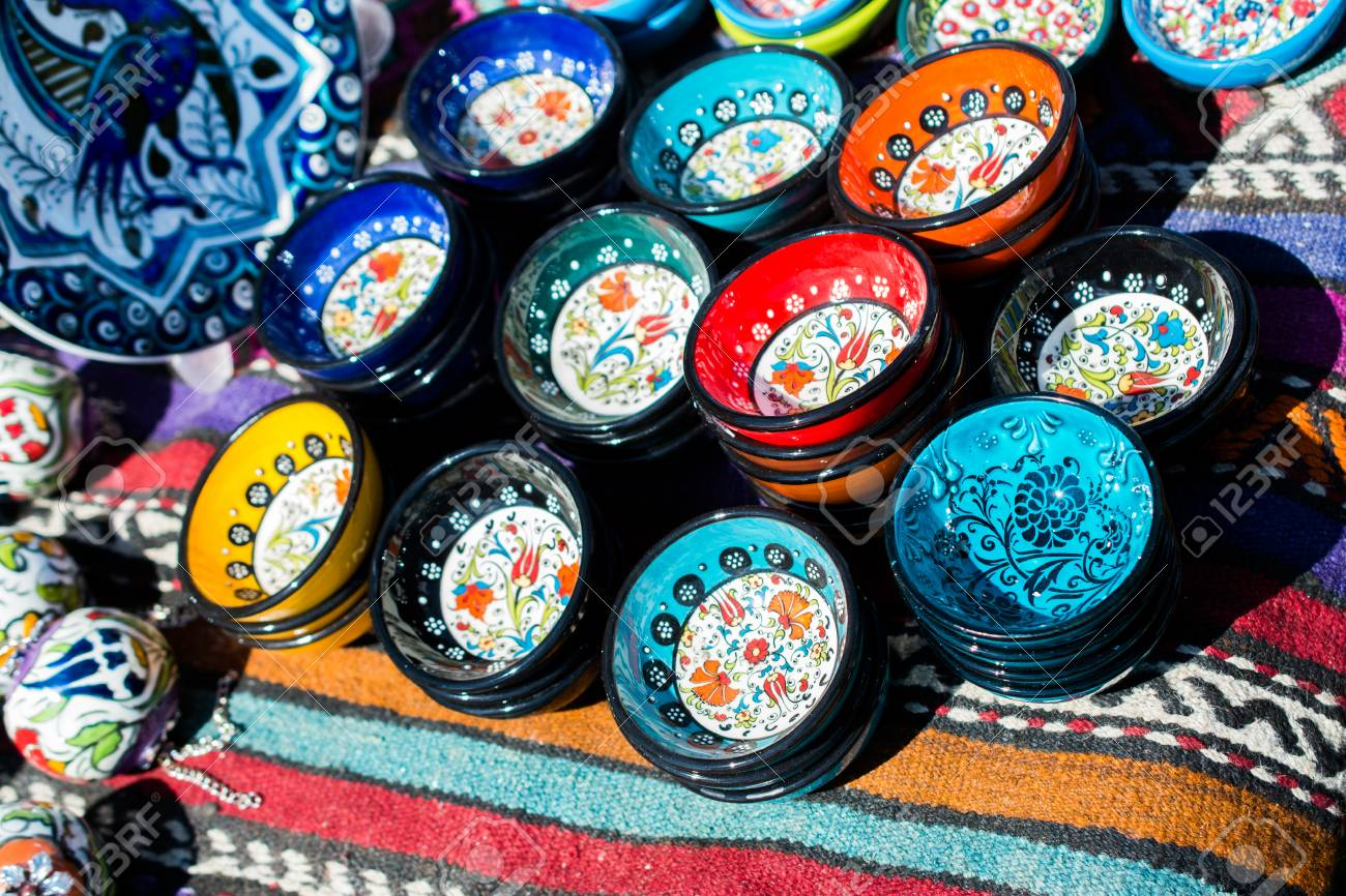 Stock Photo - Traditional Turkish ceramic plates in bazaar & Traditional Turkish Ceramic Plates In Bazaar Stock Photo Picture ...