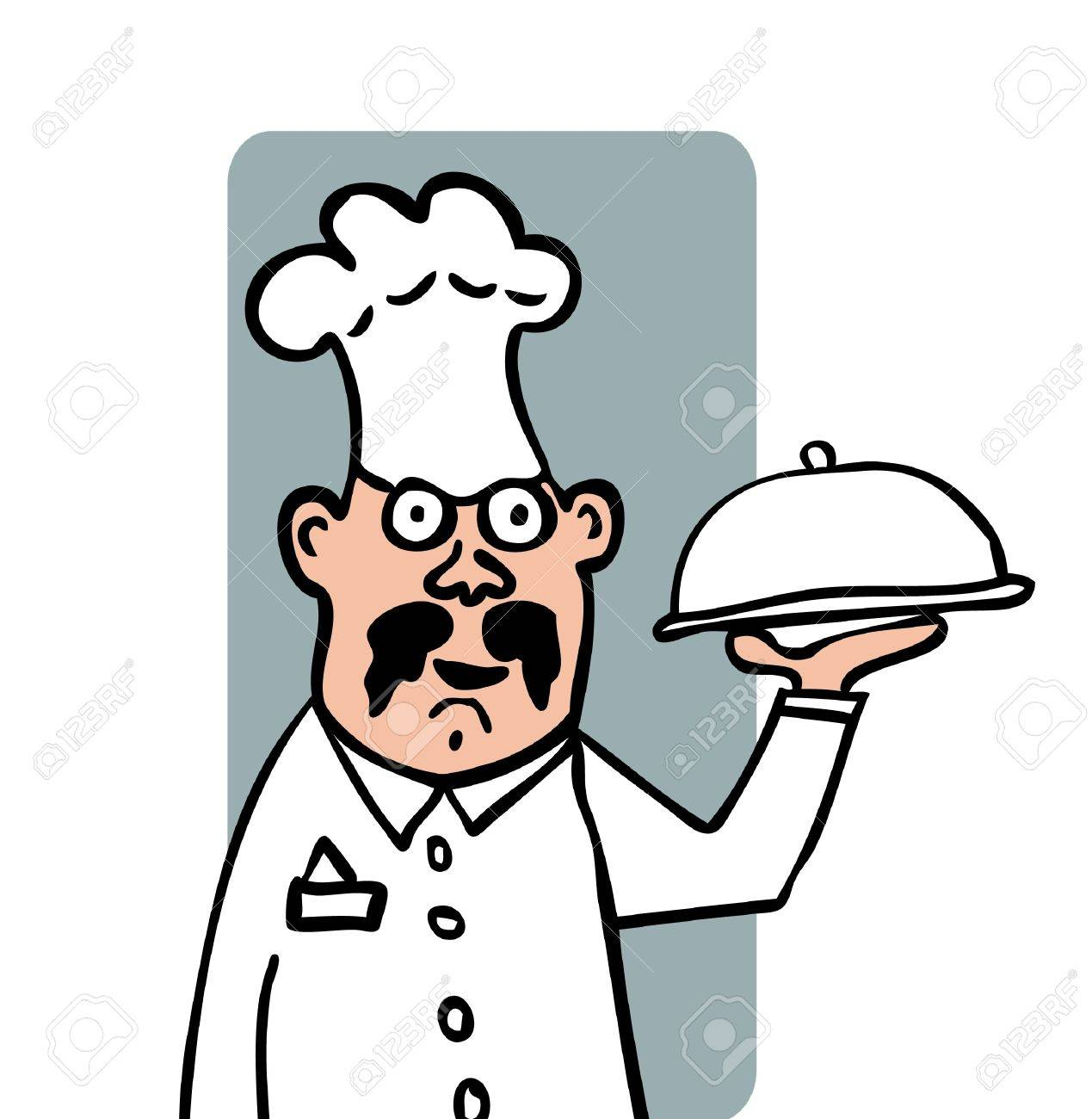 cartoot illustration of a head-cook with a tray at white background Stock Vector - 10172578
