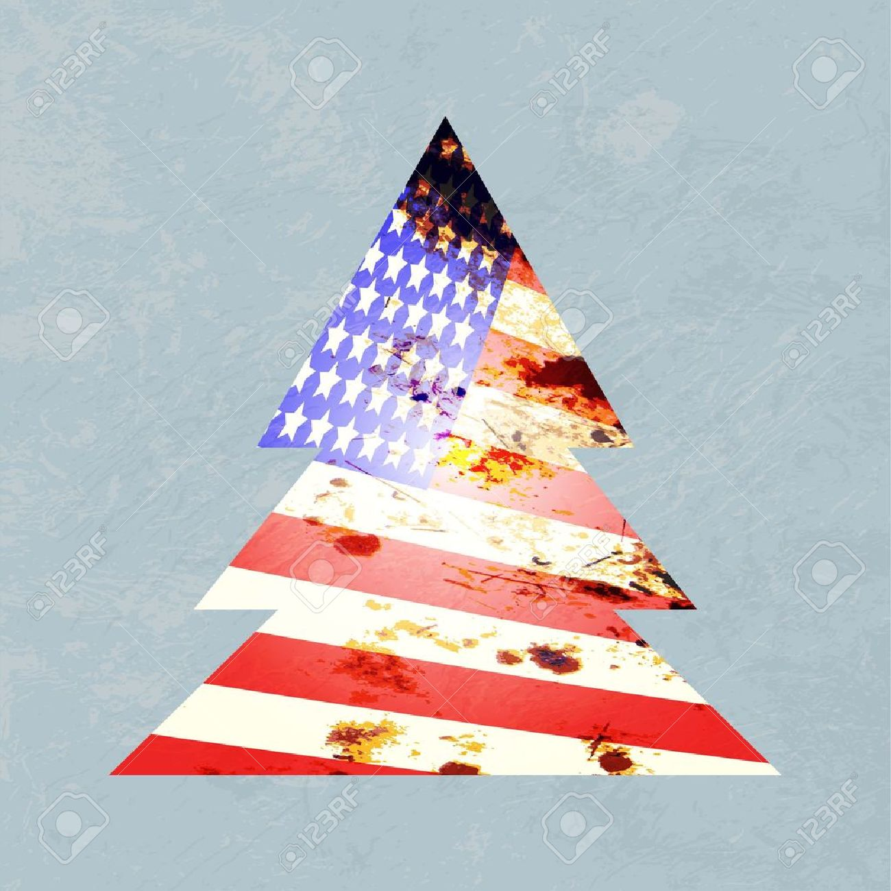 Illustration Of A Graphic Christmas Tree With American Flag Colors ...