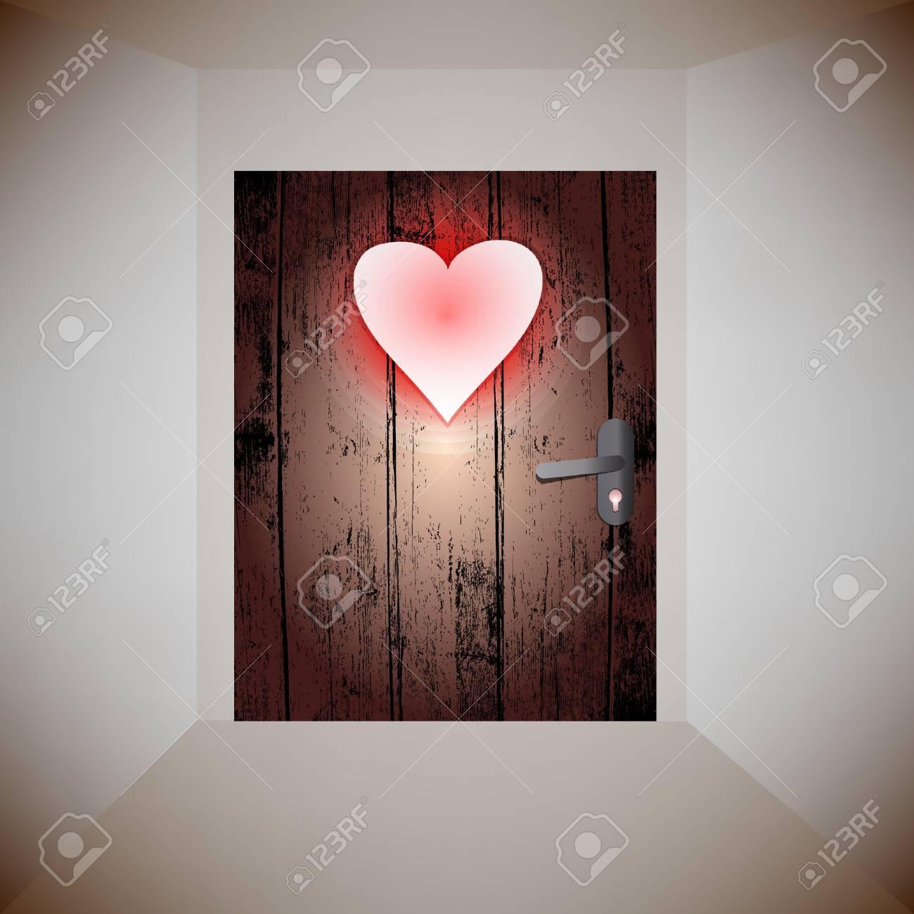wood door love Stock Vector - 12349867