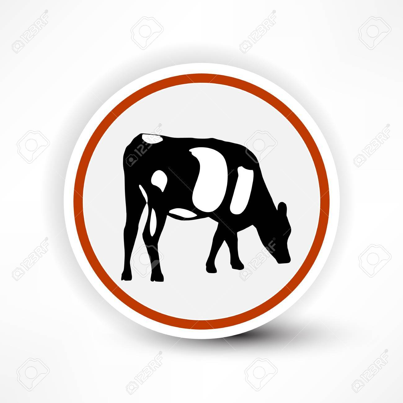 sign of grazing cows in red on a white background Stock Vector - 14133949