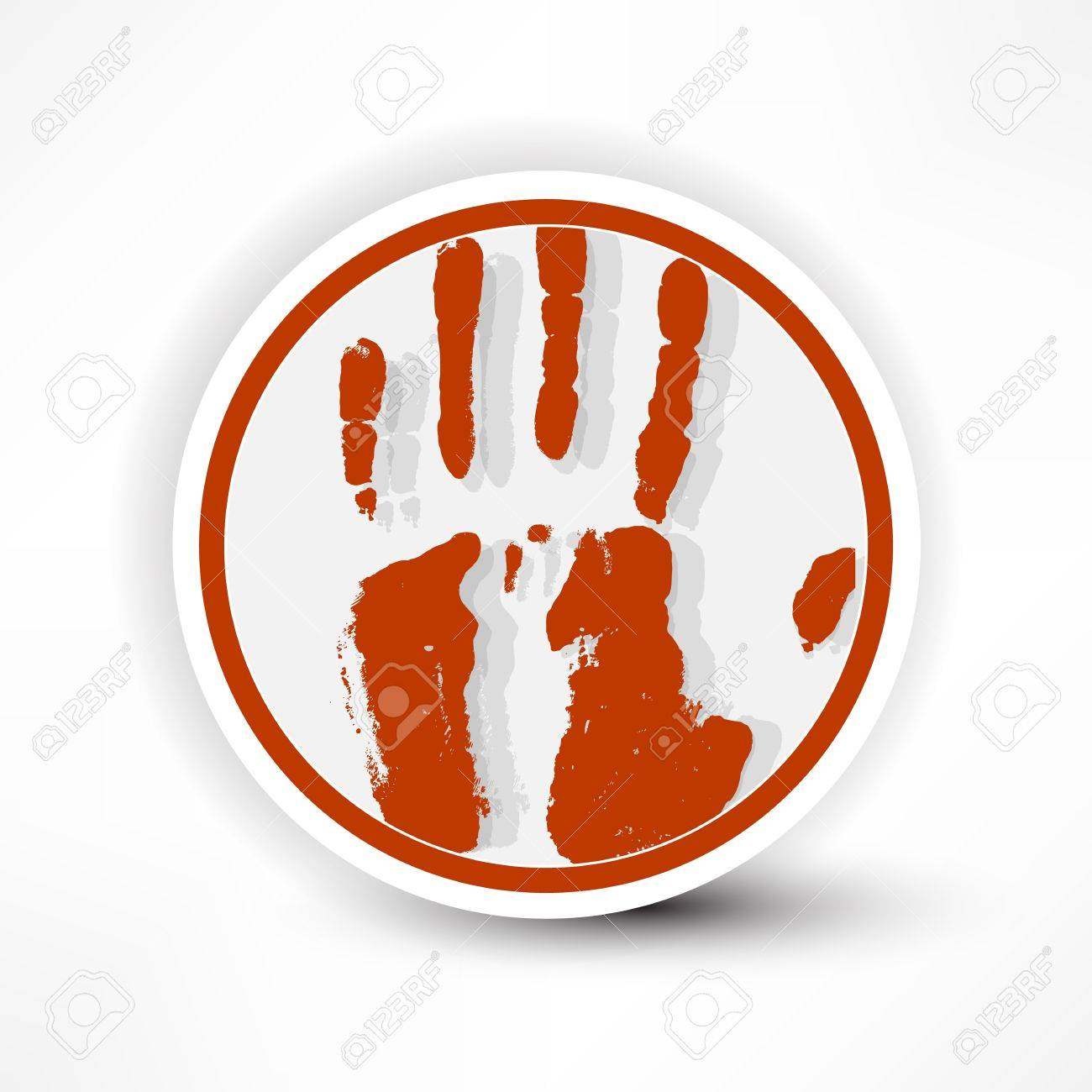 sign of the hand palm in red on a white background. Stock Vector - 14133964