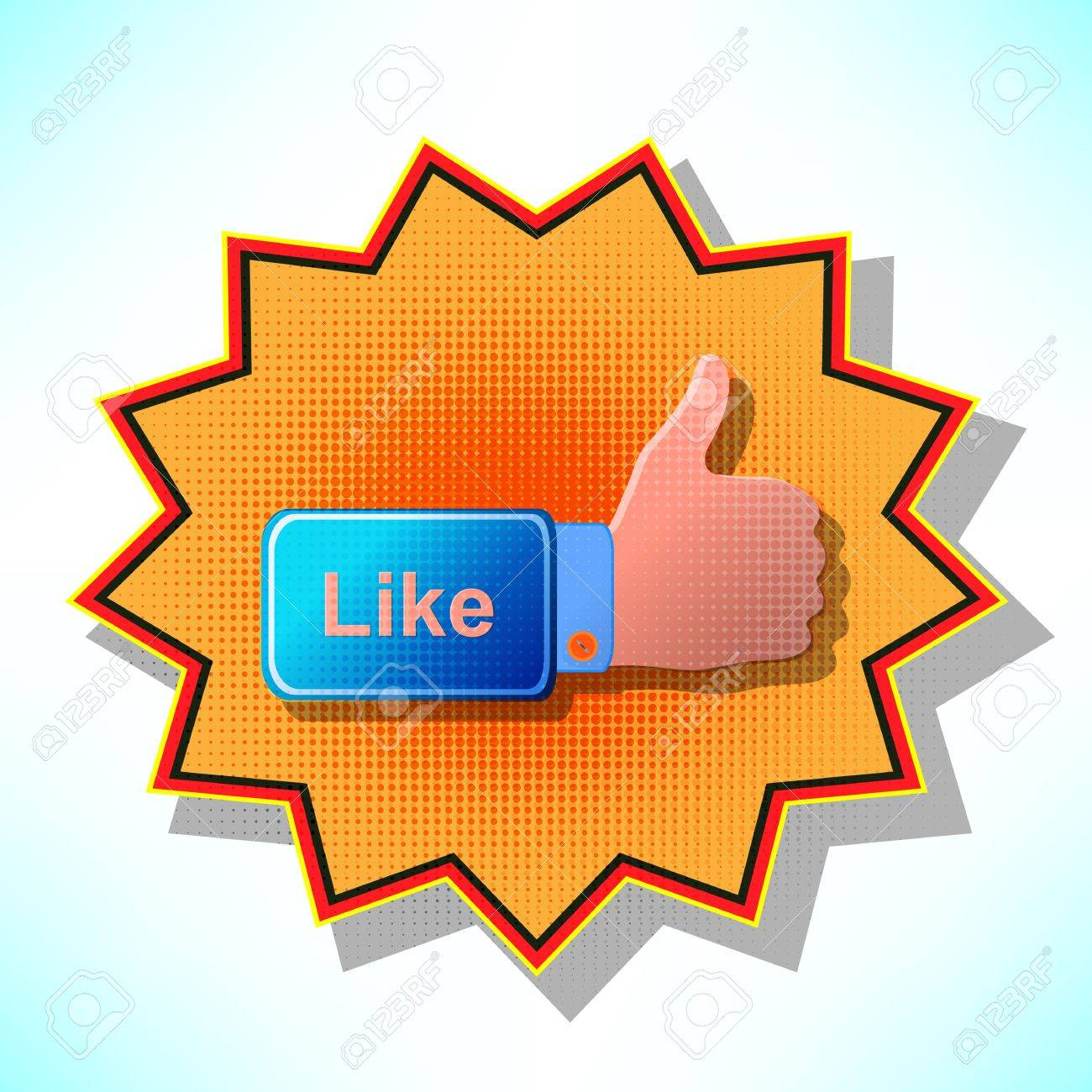 Best Choice labels hand in his jacket blue OK hand icon on the orange background. Stock Vector - 14151377