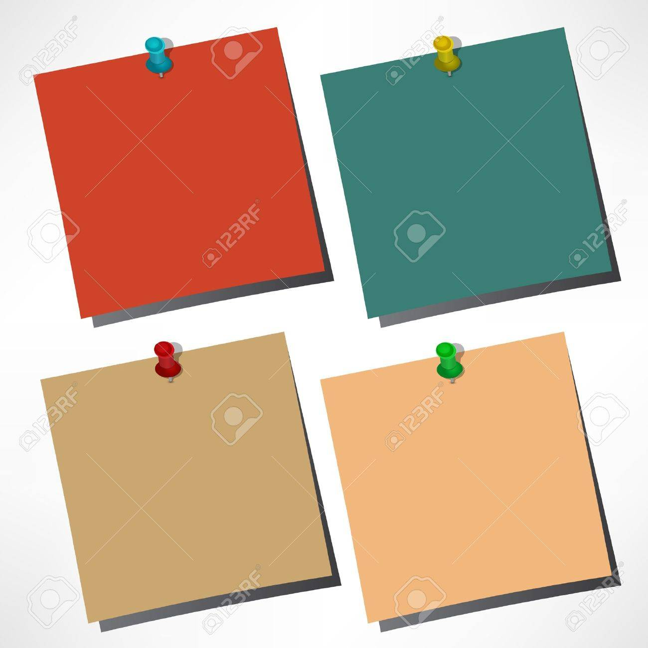 vector paper notes with push pin Stock Vector - 16168803
