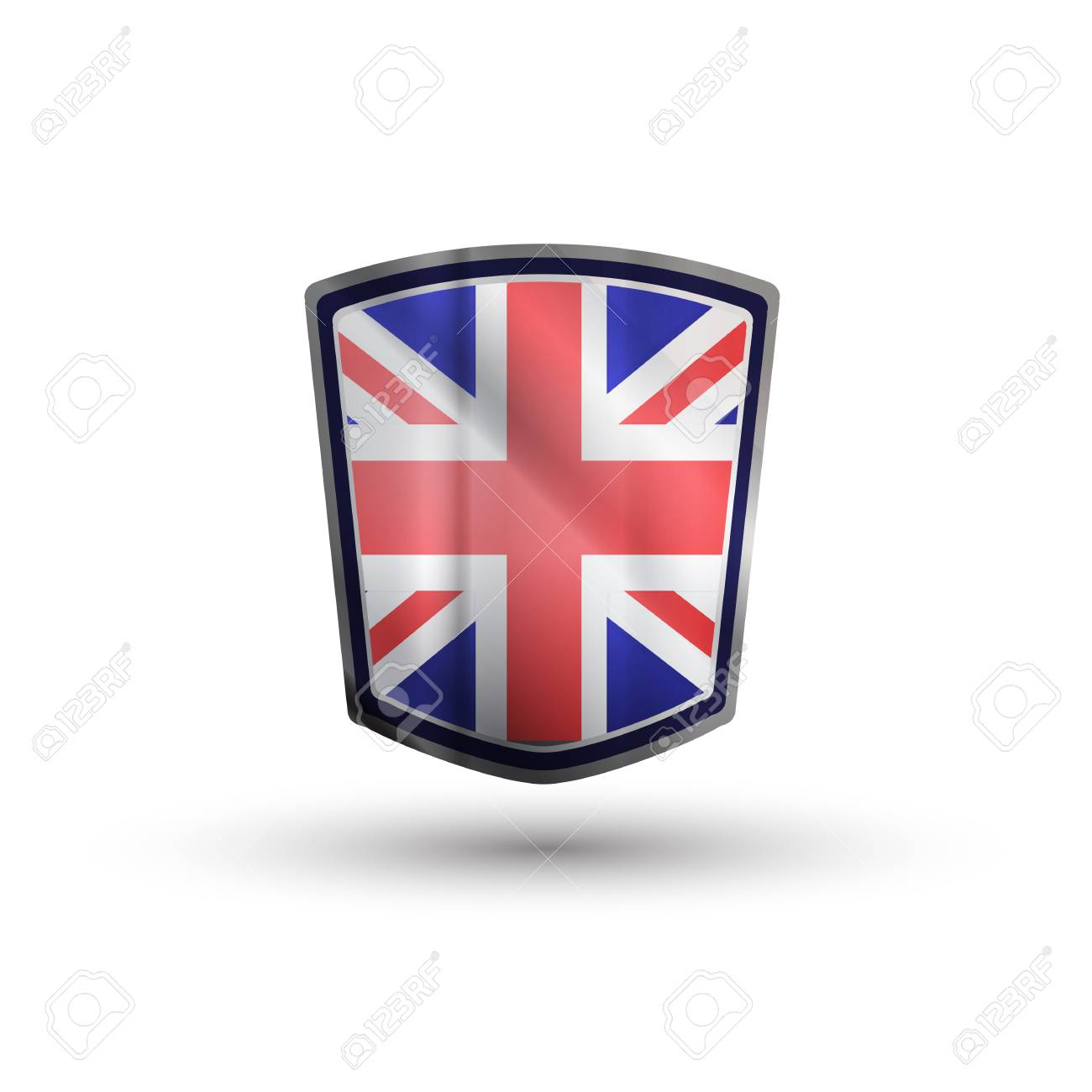 Australia flag on metal shiny shield vector illustration. Stock Photo - 17396976