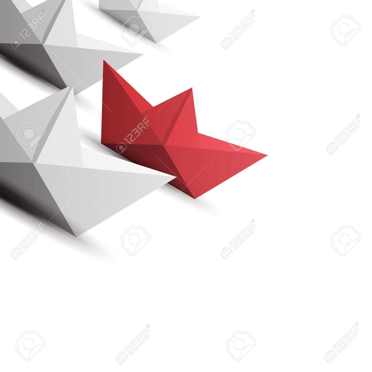 winner red paper ship Stock Vector - 17398086