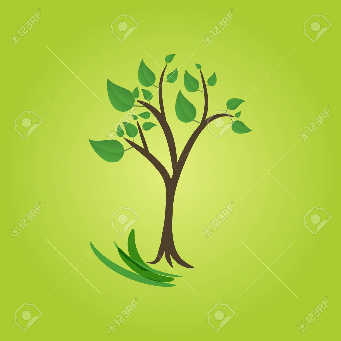 green tree on green background Stock Vector - 17398091
