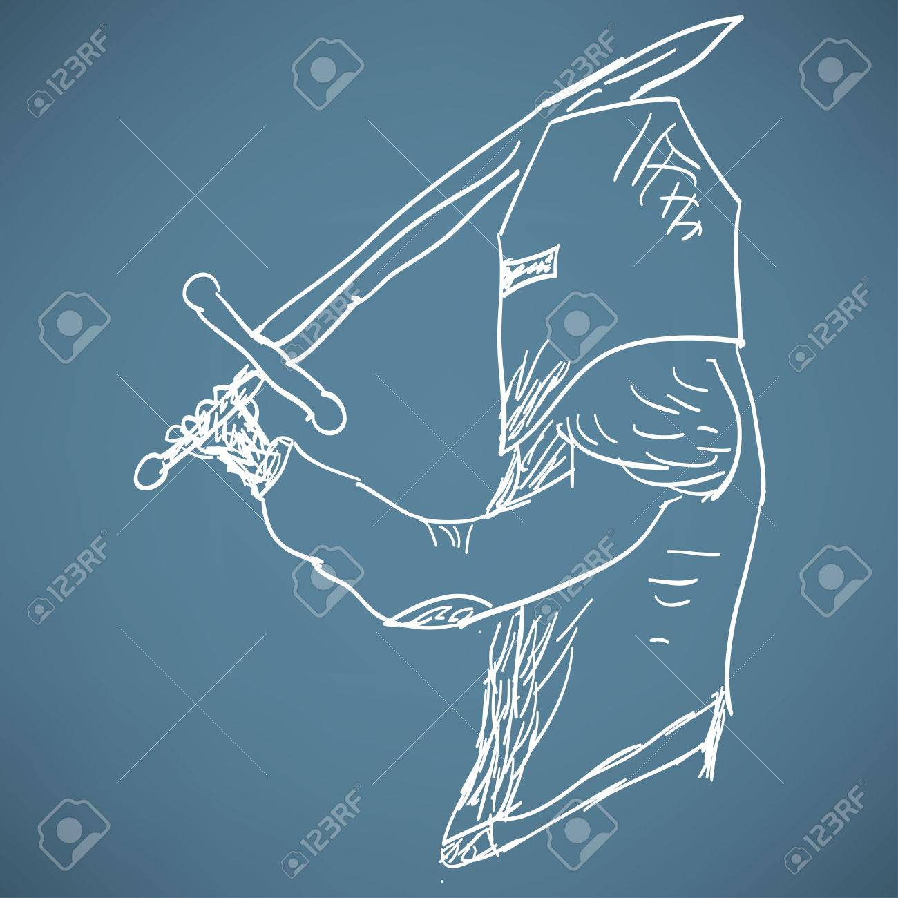 Sketch Of A Medieval Knight Royalty Free Cliparts, Vectors, And ...