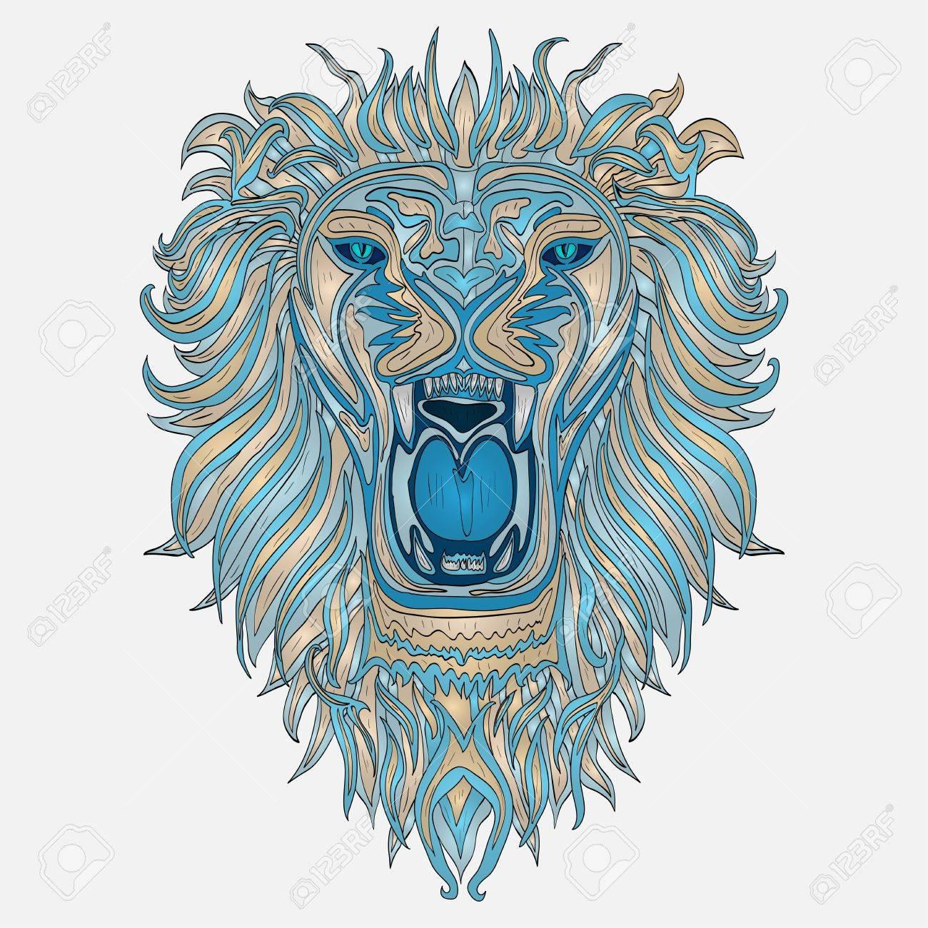 Tete Motif Du Lion Design Totem De Tatouage Indien Africaine