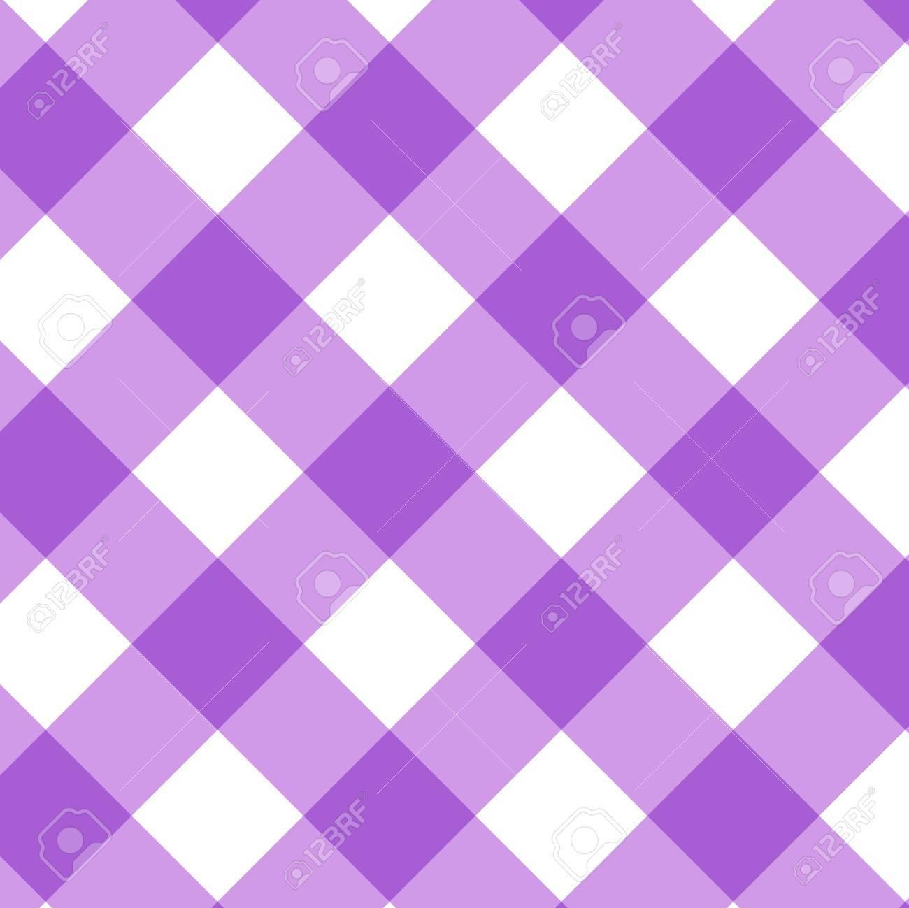 Tartan Plaid Seamless Pattern. Kitchen Checkered Purple Tablecloth Napkin  Fabric Background. Stock Vector