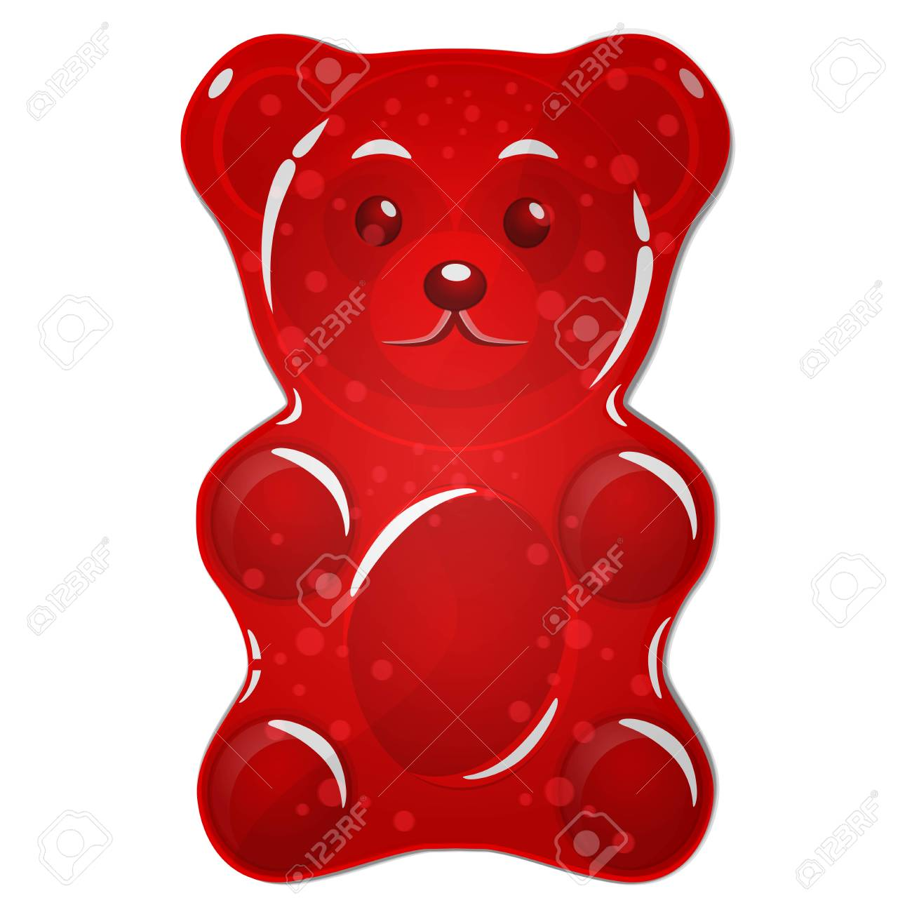 red gummy bear candy isolated on white background royalty free