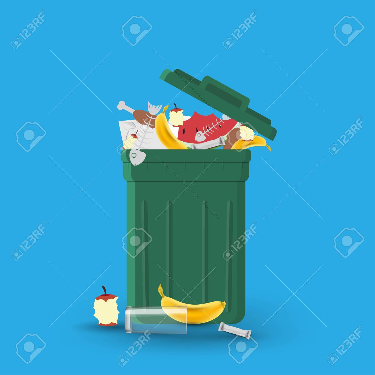 A Full Garbage Can With Waste In Blue Background. Royalty Free ...
