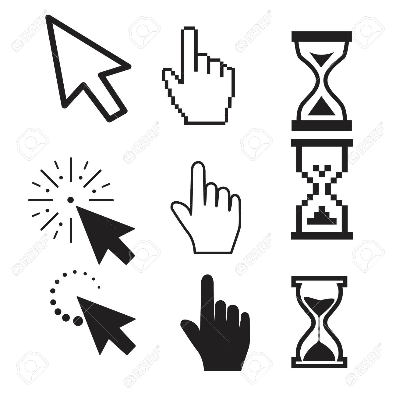 Set of flat modern cursor icons - 123978005