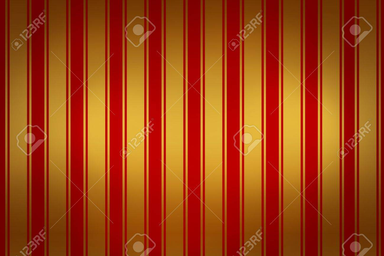 Modern Wallpaper With Red And Golden Stripes Stock Photo