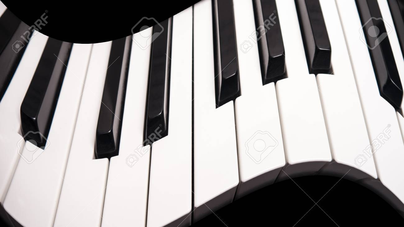 Curved Piano Keys, Abstract Photo With Black Background Stock Photo ...