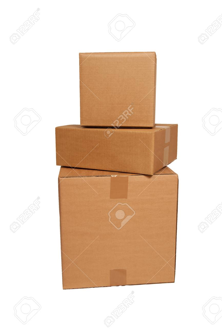 cardboard boxes stacked on white stock photo picture and royalty