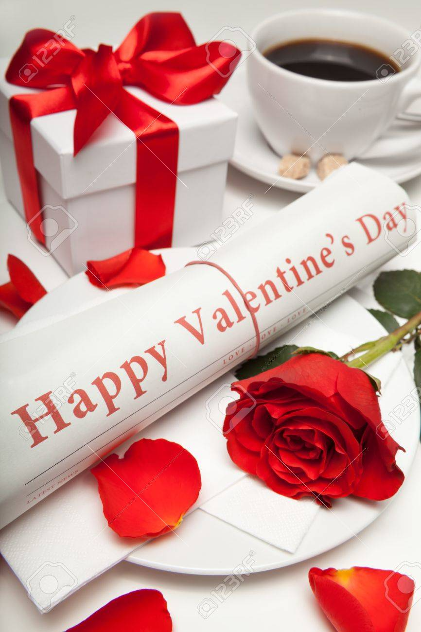 Happy Valentine S Day Newspaper Red Rose Present Box And Stock