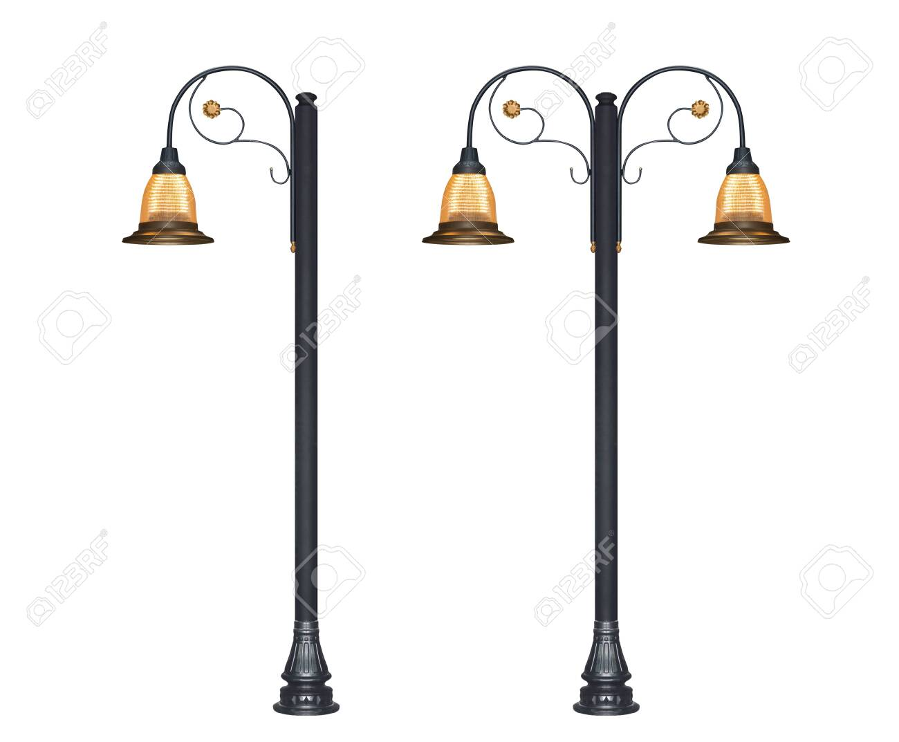 Street Lamp posts isolated on white background - 147145031